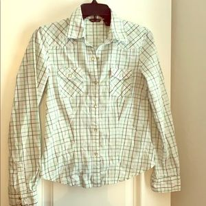 American Eagle pearl snap shirt collared size S